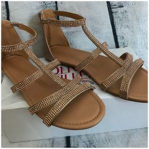 25143e582dc Olivia Miller Shoes - OLIVIA MILLER ROSE GOLD GLADIATOR SANDALS
